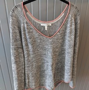 Slouchy gray and coral sweater top